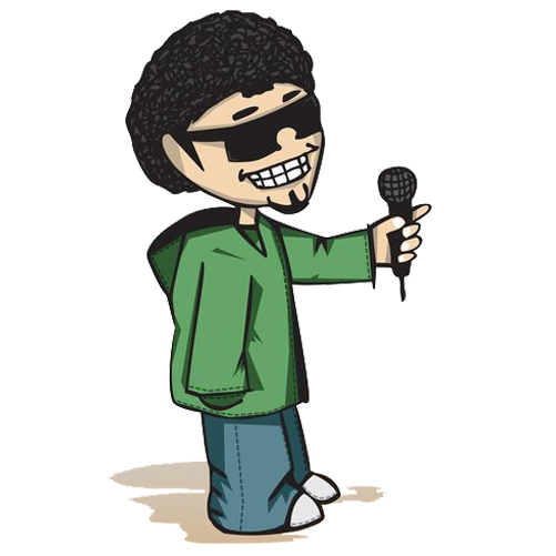 Rapper vector hip hop microphone. Cartoon character presided over