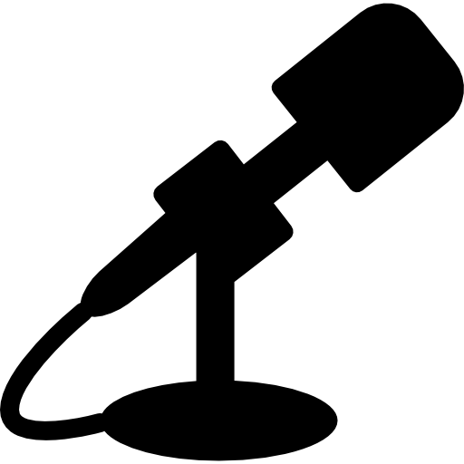 Rapper vector mic silhouette. Microphone black side icons
