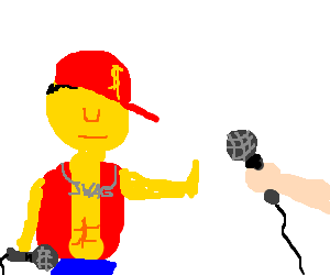 Rappers drawing mic. Yellow eyeless rapper preffer