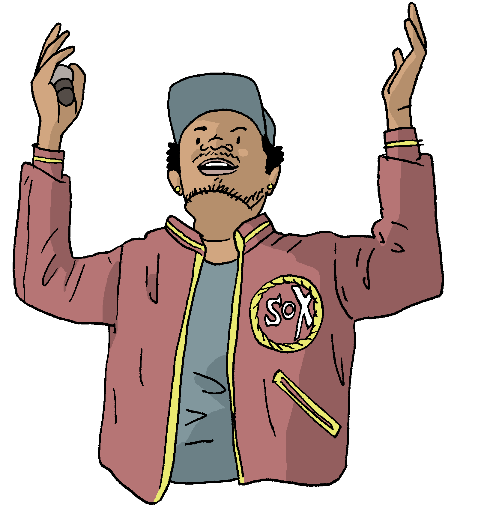 Rappers drawing old school. Chano for mayor a