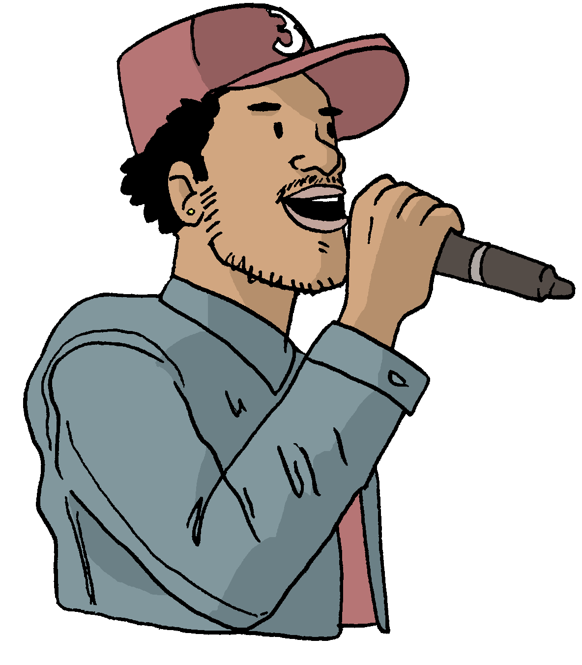 Rappers drawing rap music. Chano for mayor a