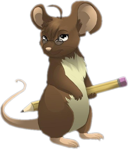 Rat cartoon png. Brown mouse with pencil