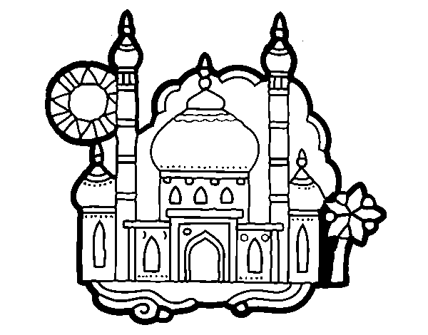 Coloring page taj mahal. Ratatouille drawing drum banner stock