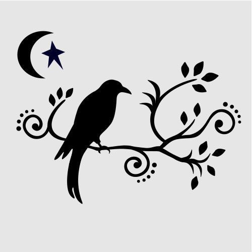 Raven clipart stencil. Silhouette templates at getdrawings