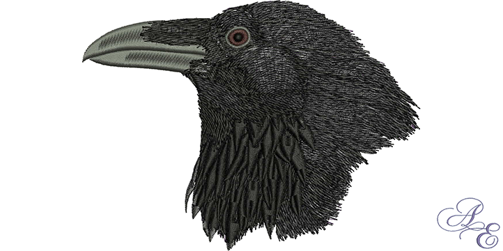 Raven head png. Medium art of embroidery
