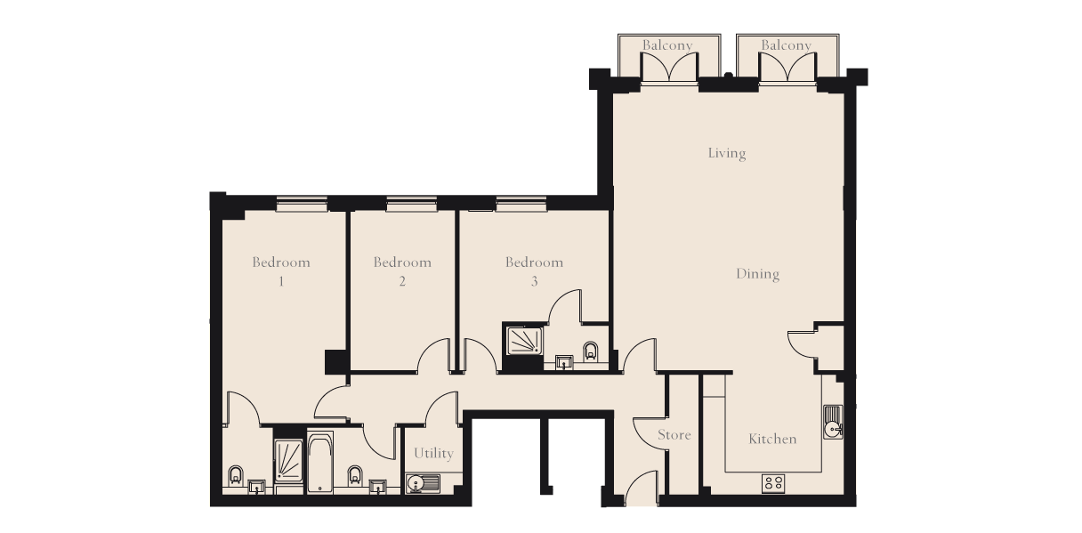 Rcp drawing bedroom. Argyll house ground floor
