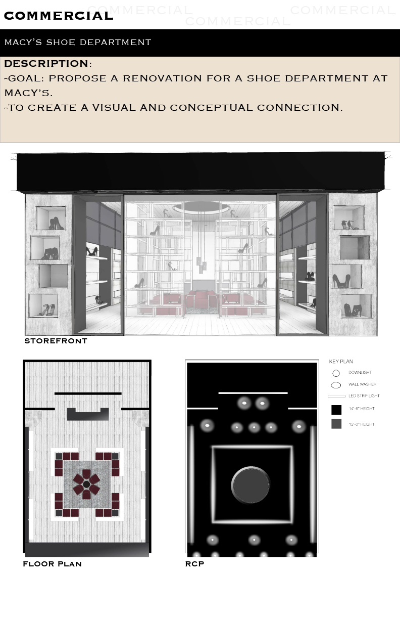 Rcp drawing interior design. Macy s shoe department