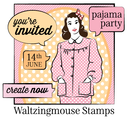 Re invited clipart stamp. June pj party you