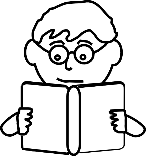 Reading vector boy. Outline clip art at