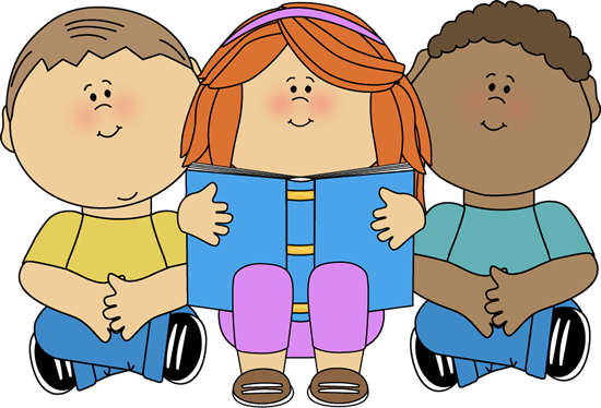Reading clipart kids. Clip art image sitting