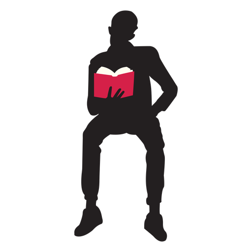 Sales vector person. Sitting man reading silhouette