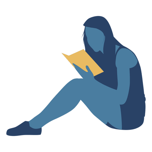 Reading transparent book. Woman floor silhouette png