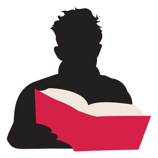 Reading transparent book. Man silhouette people png