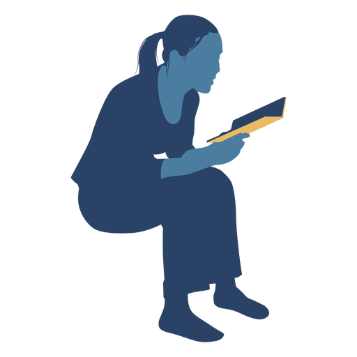 Reading vector. Woman book sitting silhouette