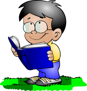 Reading vector cartoon kid. Boy clip art at