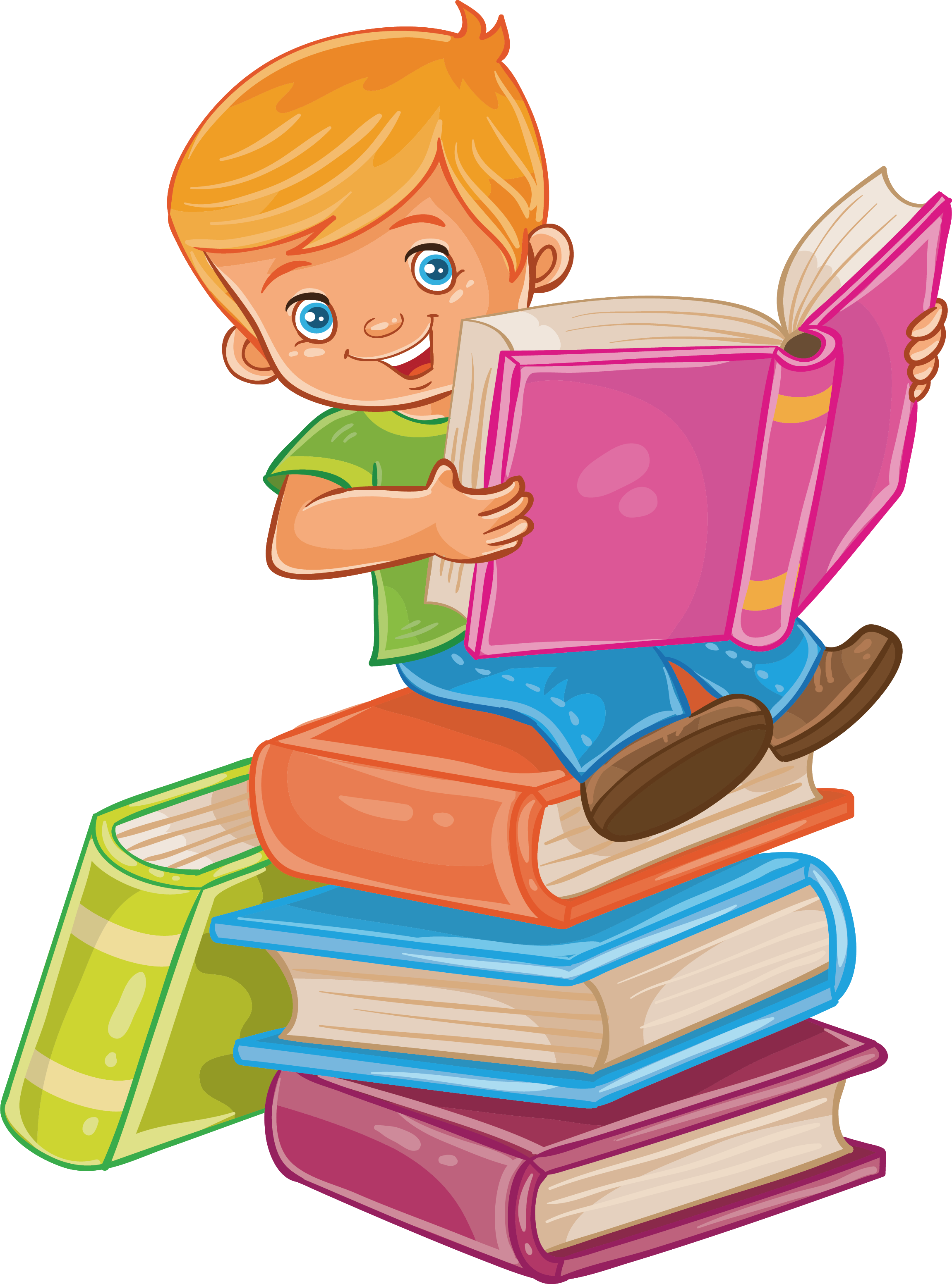 Reading vector pile book. Child royalty free illustration