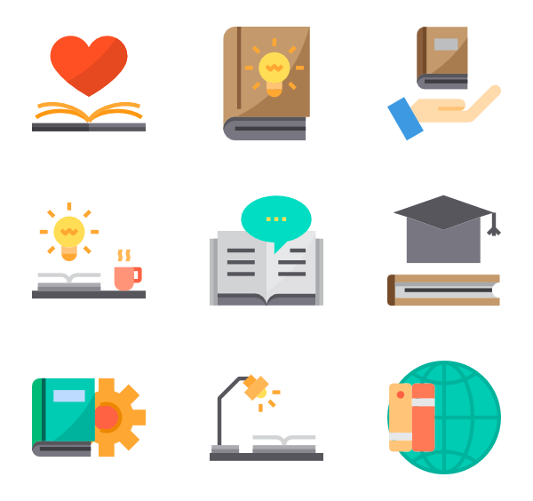 Reading vector resource. Icons free book and