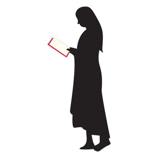 Reading vector resource. Standing woman silhouette transparent