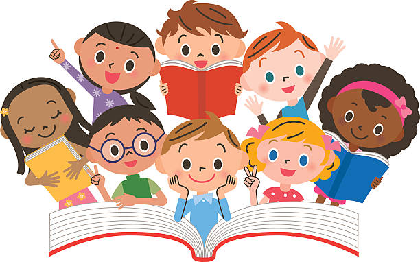 Readying. Children reading clipart collection
