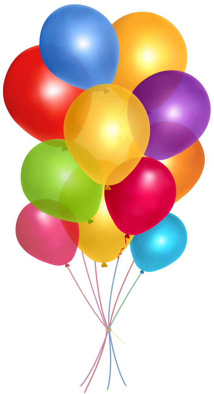 Real balloons png. Transparent multicolor clipart picture