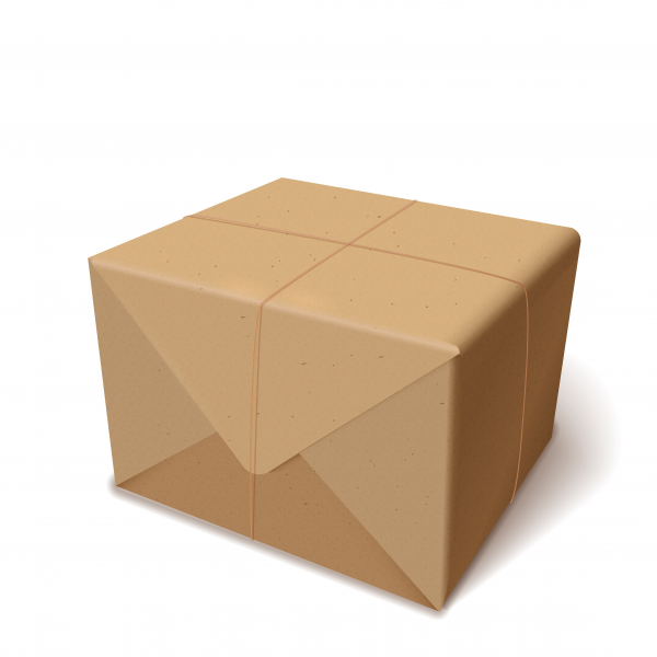 Realistic parcel or delivery cardboard or recycled paper wrapped box isolated on white. Vector illustration