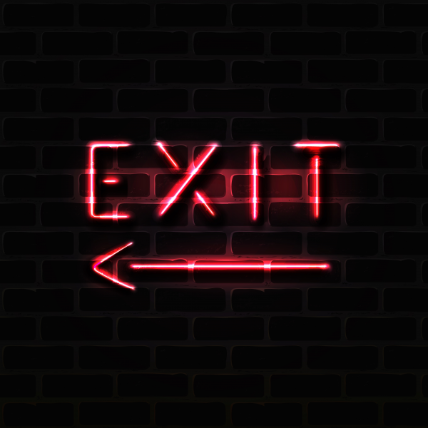 Realistic vector illustration of red exit neon sign.