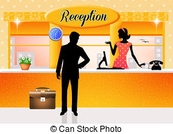 Receptionist clipart. Reception and stock illustrations image stock