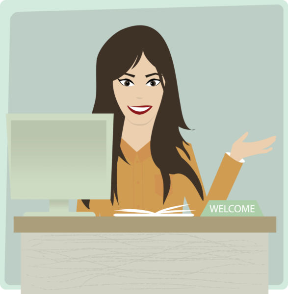 Receptionist clipart. Illustration of at office