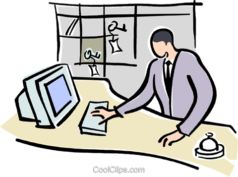 Office staff reception icons. Receptionist clipart clipart free stock