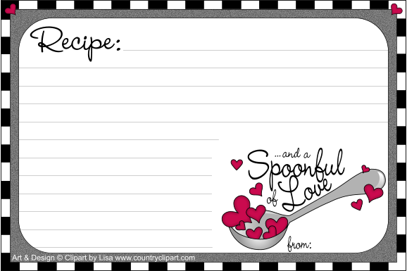 Recipe clipart. Free printable cards country