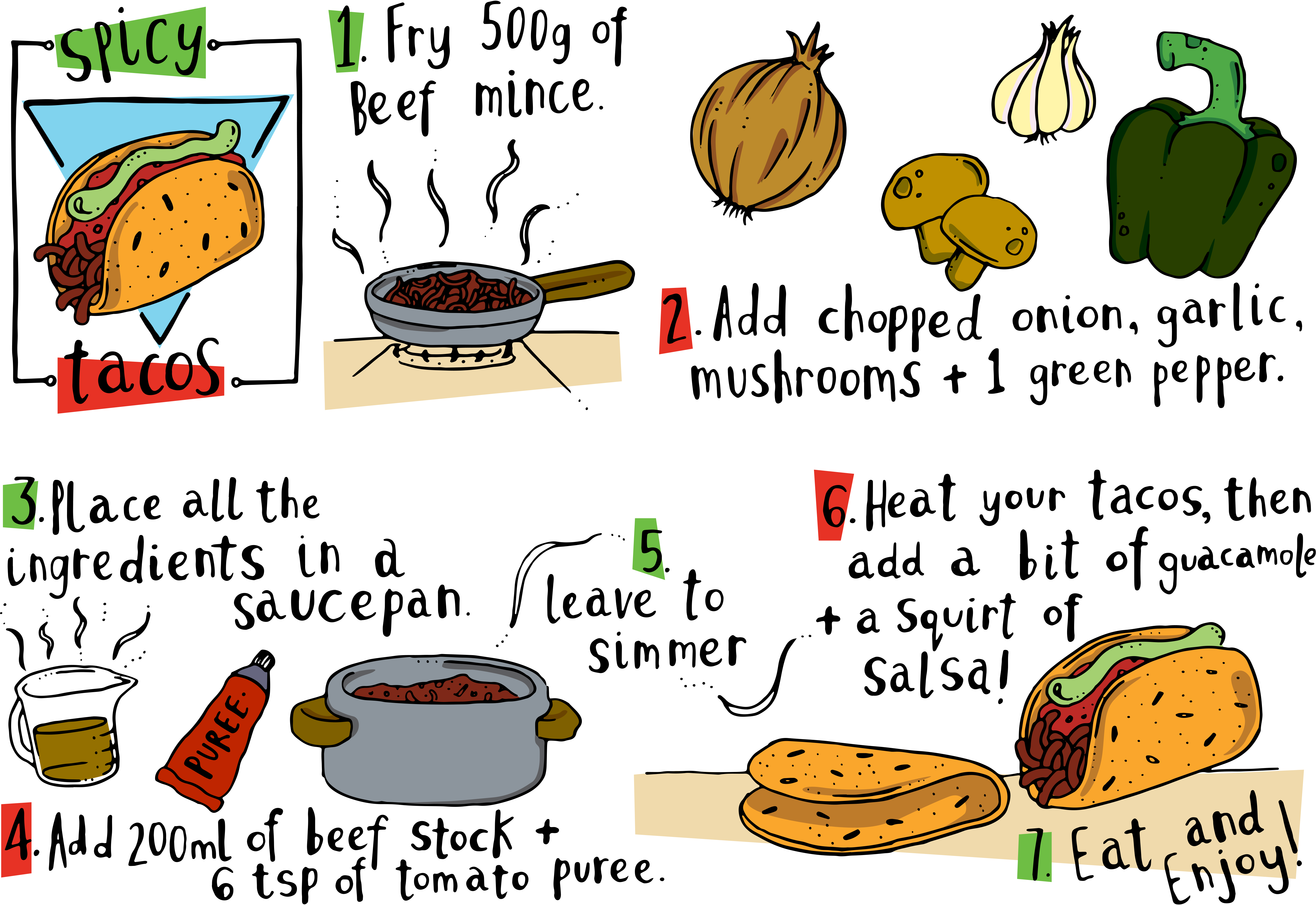 Recipe vector food illustration. Tacos graphic royalty