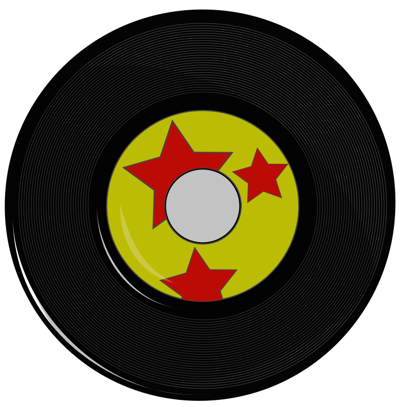Record clipart. Vintage hollywood rocks theme