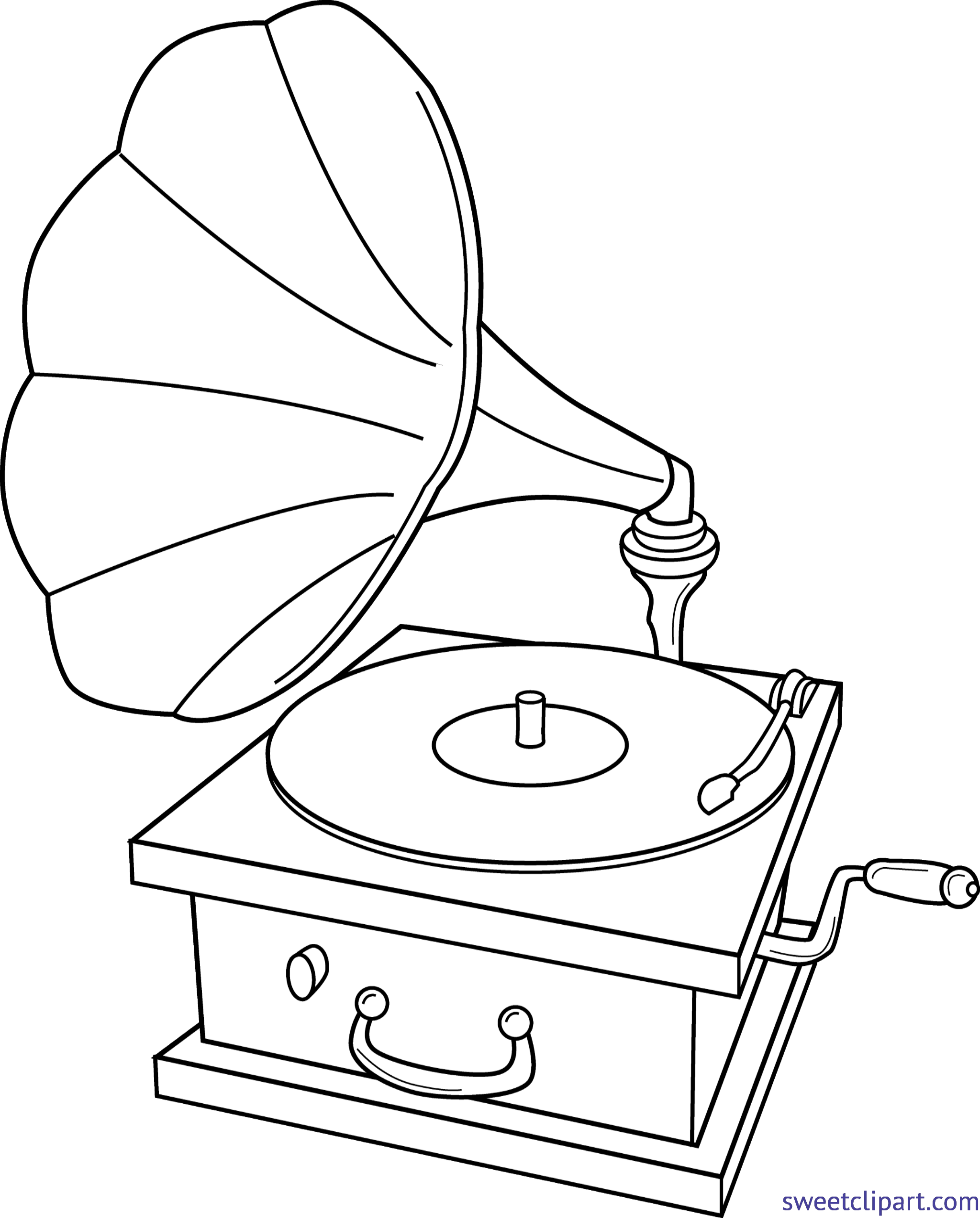 Record clipart record player. Lineart clip art sweet