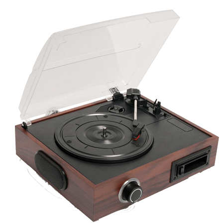 Transparent records turntable. Portable record player png