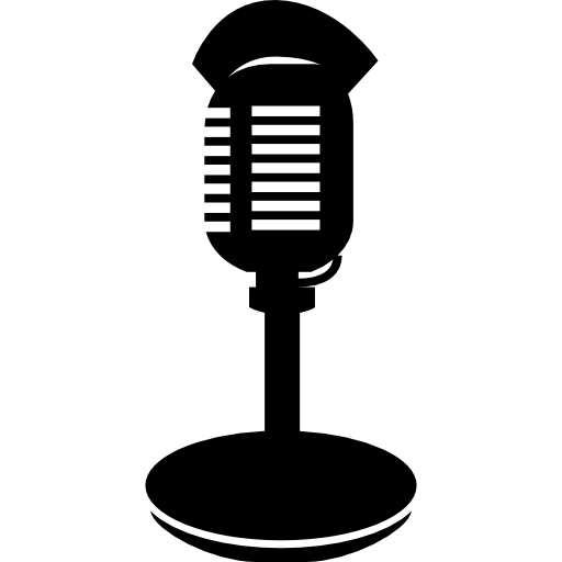 Colored clipart microphone. Condenser with stand and