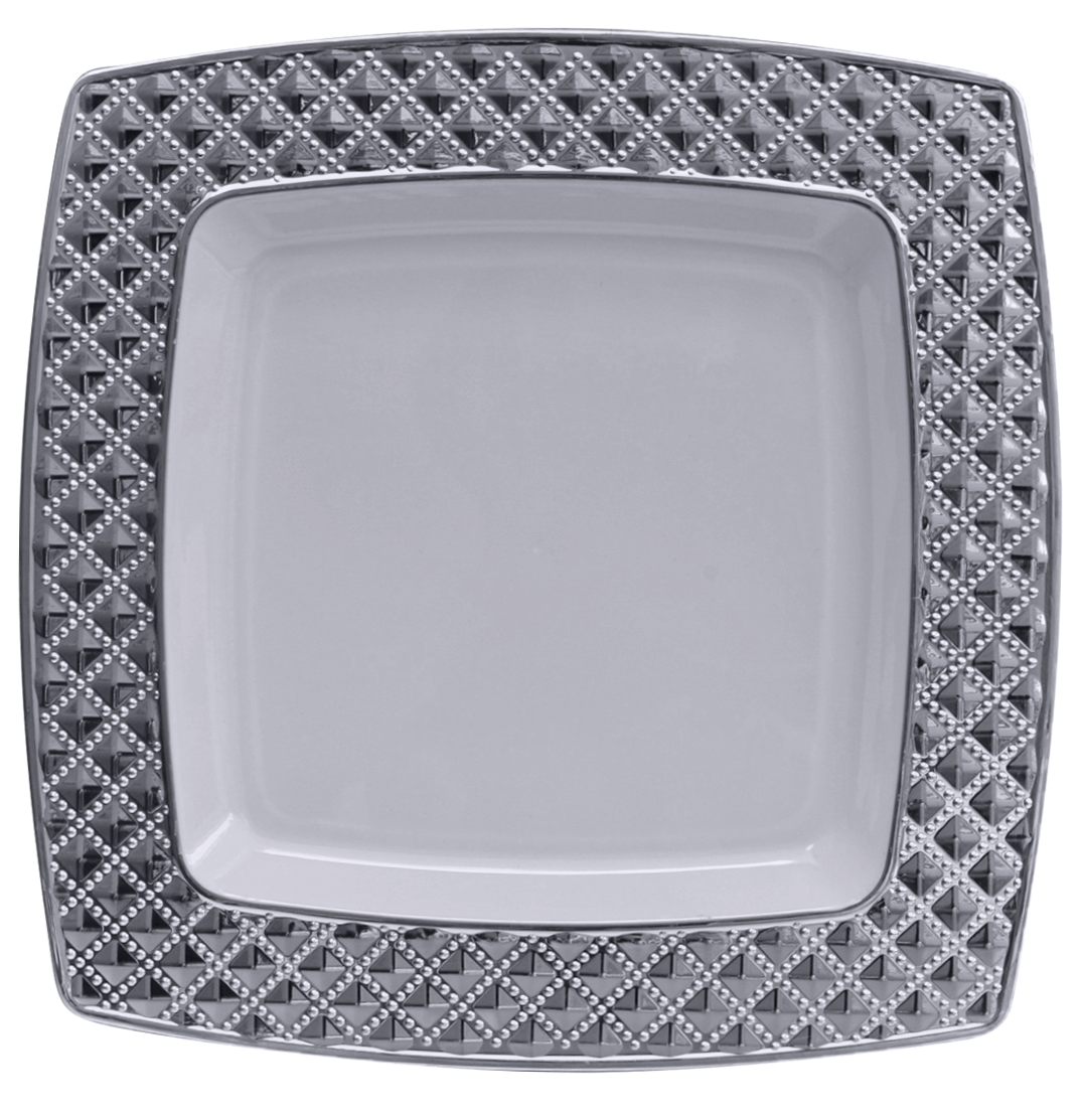 Rectangle dinner plate png. Stunning white and silver