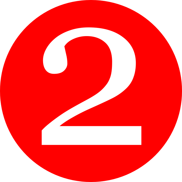 Red 2 png. Rounded with number clip