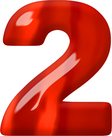 Red 2 png. Presentation alphabets glass numeral