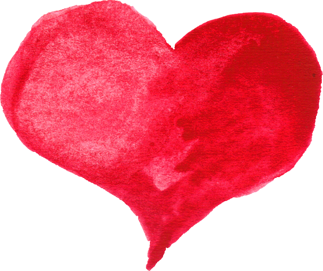 Community transparent heart. Red watercolor png