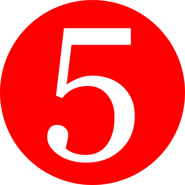 Red 5 png. Rounded with number clip