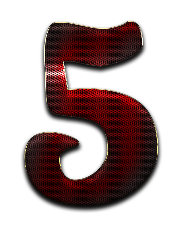 Red 5 png. Number dots names