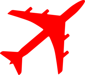 Red airplane. Cliparts zone