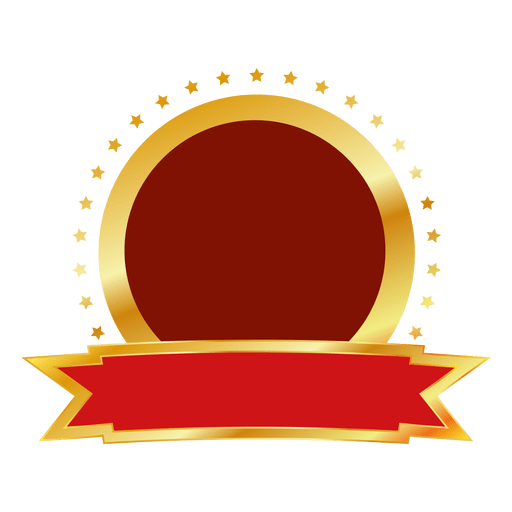 Transparent ribbons round. Red gold badge png