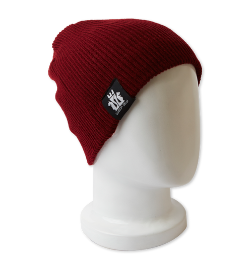 Red beanie hat png. Reversible bordeaux white