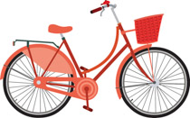 Red bicycle. Free clipart clip art