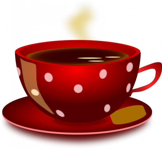 Cup clipart english teacup. Red with white polka