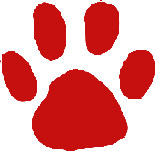 Red clipart paw print. Clip art at clker