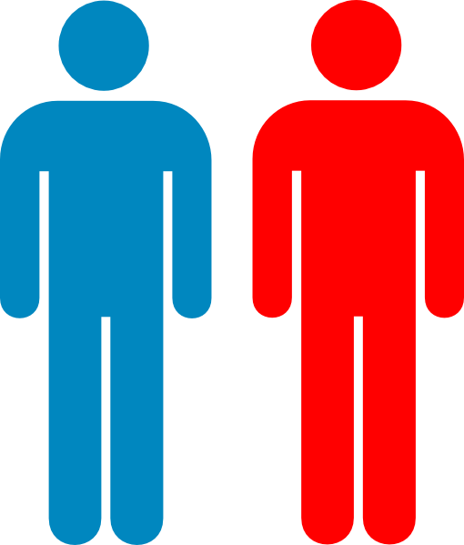 Red clipart person. Blue and symbol clip