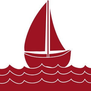 Red clipart sailboat.