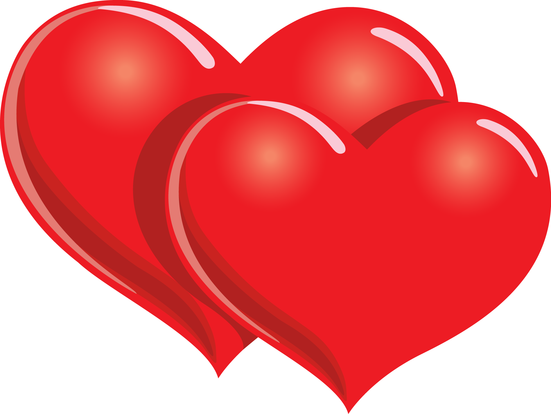 Red hearts png. Free two clipart download